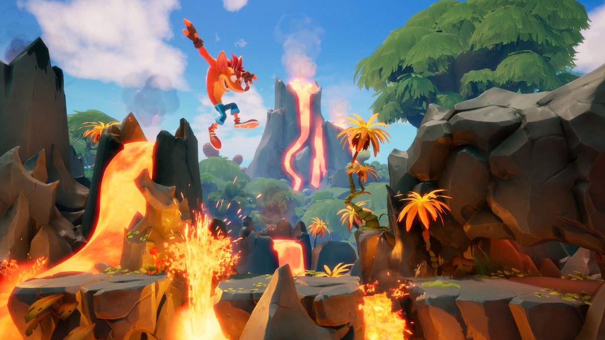 Crash jumps over lava in a side-scrolling level from Crash Bandicoot 4: It's About Time