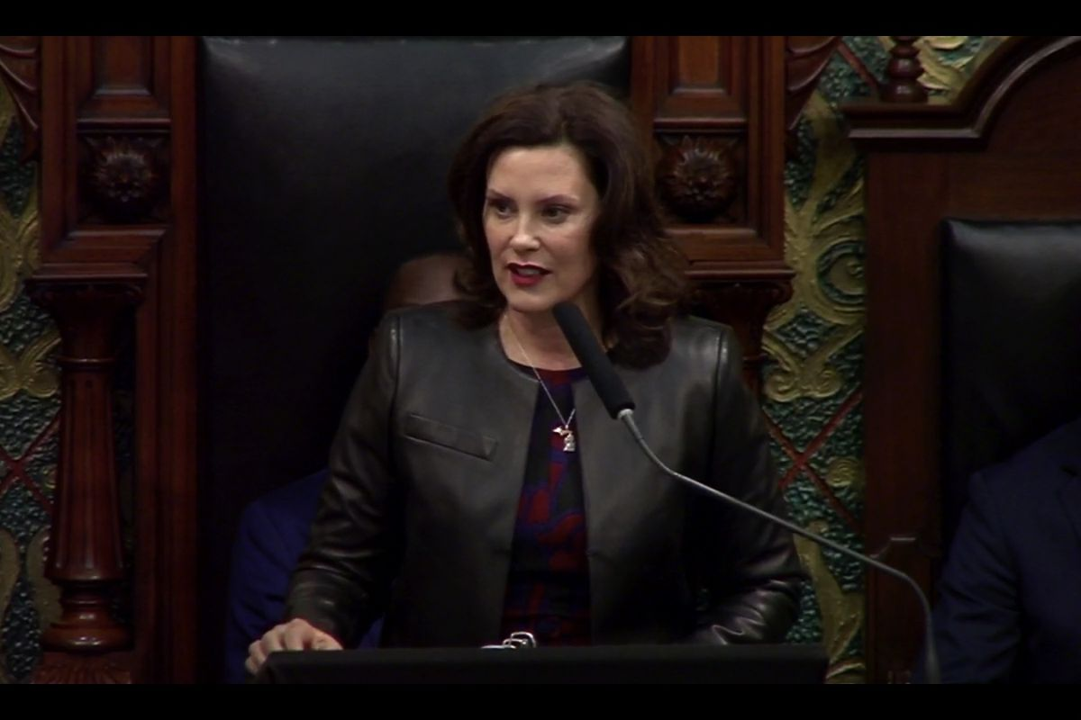 Michigan Gov. Gretchen Whitmer speaks during her second State of the State address Wednesday, Jan. 29.