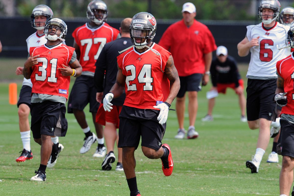 TAMPA, FL -  MAY 4: Safety Mark Barron #24 of the Tampa Bay Buccaneers runs upfield during a rookie practice at the Buccaneers practice facility May 4, 2012 in Tampa, Florida. (Photo by Al Messerschmidt/Getty Images)