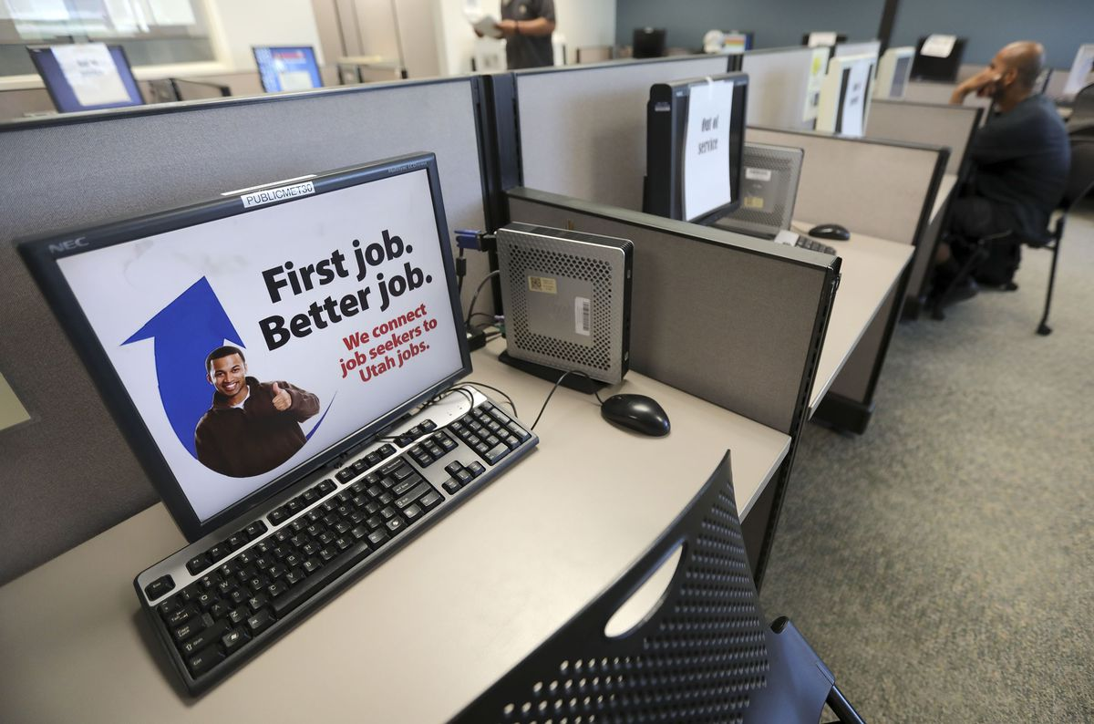 A computer station is available for a job seekers at the Utah Department of Workforce Services in Salt Lake City on Tuesday, June 22, 2021.