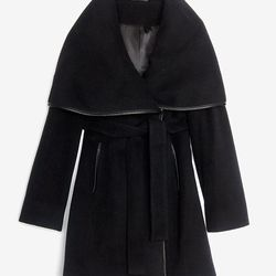 """<a href=""""http://www.intermixonline.com/product/menchi+for+intermix+leather+trim+belted+wrap+coat.do"""">Menchi for Intermix leather trim belted wrap coat</a>, $284.50 (was $625)"""