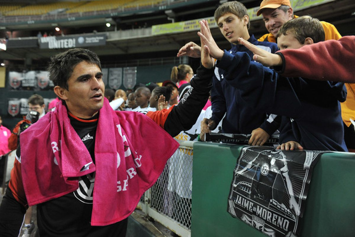WASHINGTON DC - OCTOBER 23:  Jaime Moreno #99 of D.C. United says farewell to fans after the game against Toronto FC at RFK Stadium on October 23 2010 in Washington DC. Toronto defeated DC 3-2. (Photo by Larry French/Getty Images)