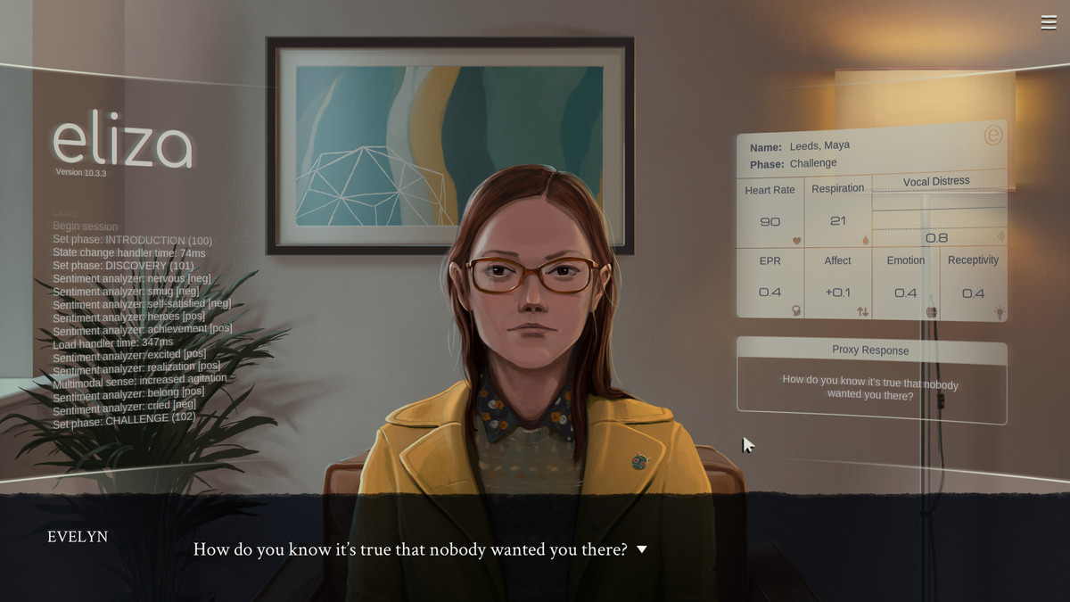 A young woman in a yellow jacket sits in a small office room with a painting, a plant and a digital overlay displaying a lot of text.