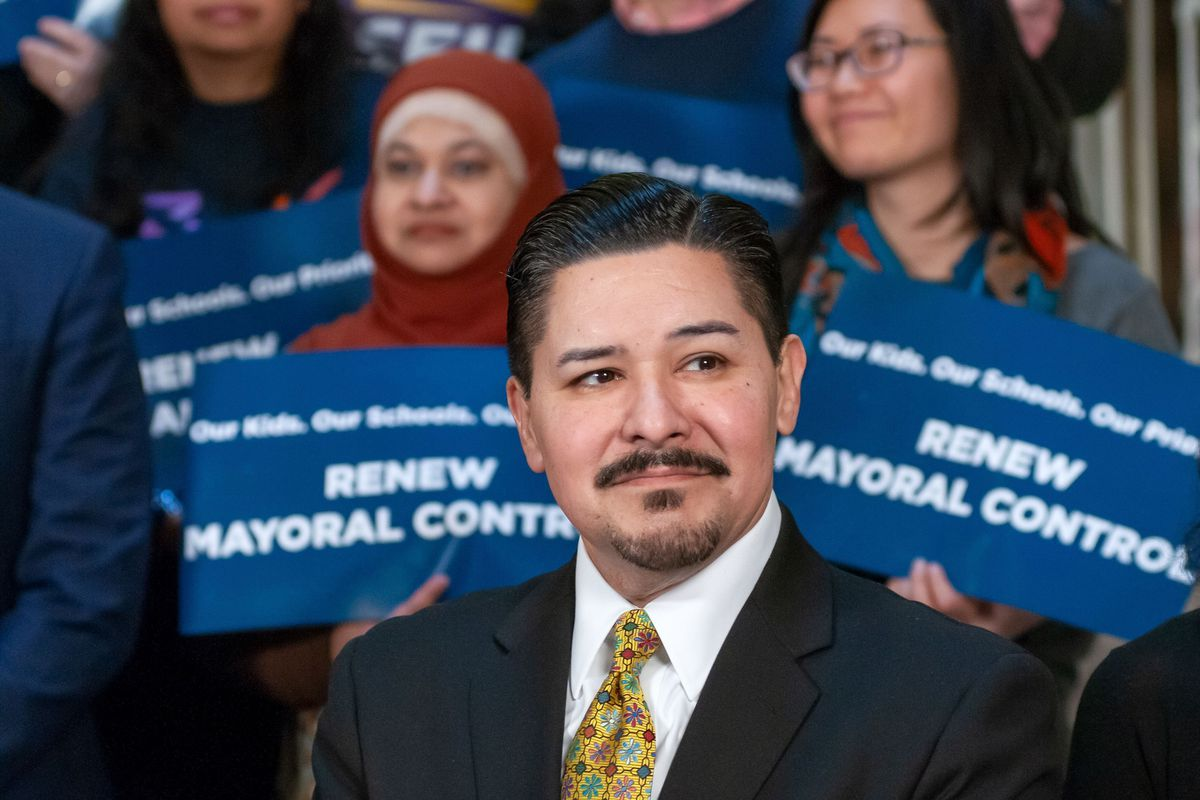New York City Department of Education Chancellor Richard A. Carranza attends a press conference at City Hall about the importance of mayoral control of the schools, March 7, 2019.