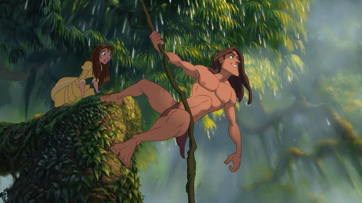 disney tarzan hangs from a vine while jane stands behind him gasping