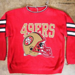 """<strong>Vintage</strong> 1990's SF 49ers knit Sweater, <a href=""""http://elderandpine.bigcartel.com/product/1990-s-sf-49ers-knit-sweater"""">$54</a> at Elder and Pine"""