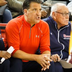 Steve Lavin instructs, with Gene Keady at his side. Tracksuits.