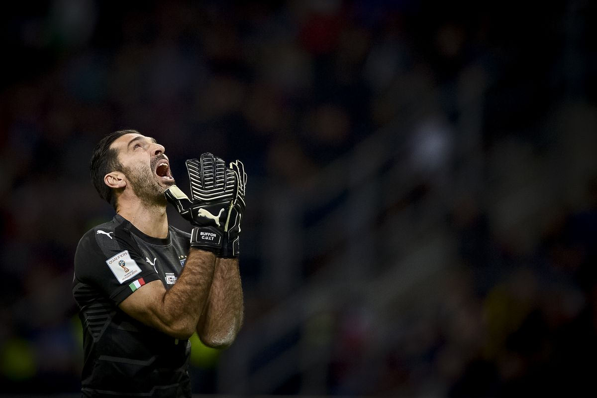 Gianluigi Buffon of Italy looks dejected during the FIFA...