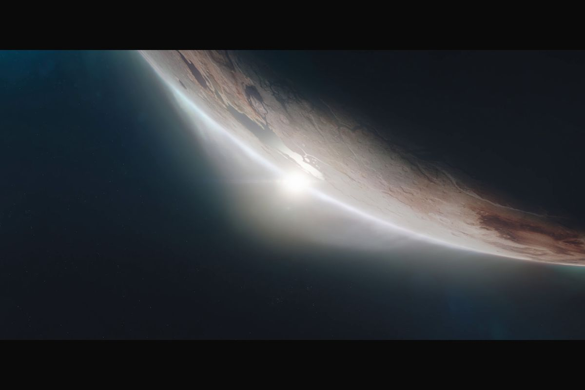 a screencap from the Starfield teaser trailer showing a sun barely visible on the edge of a planet