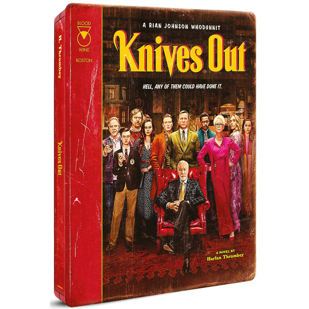 A product shot of the exclusive Knives Out steelbook case