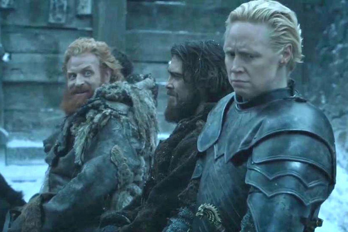 Tormund leering at Brienne of Tarth.