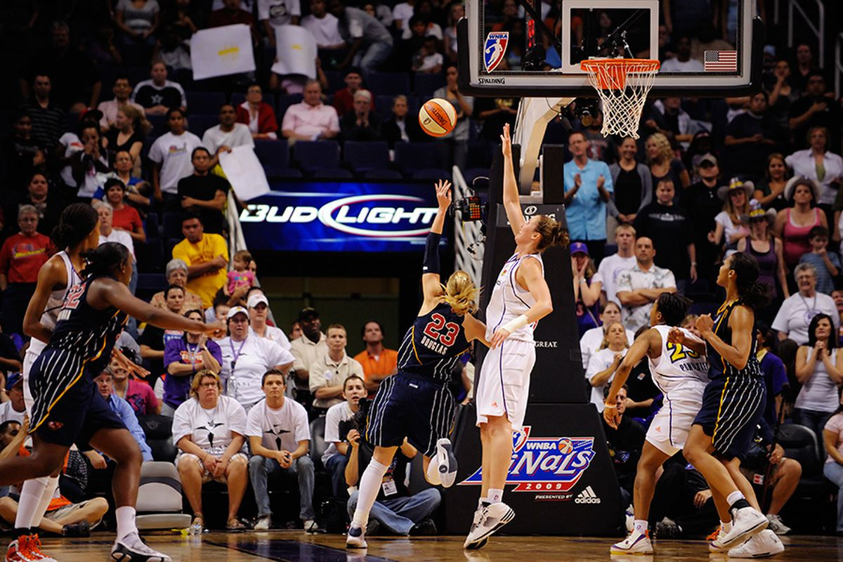 Nicole Ohlde was able to stay with Katie Douglas (30pts) and force her to miss on crucial possession during over time. The Phoenix Mercury went on to beat the Indiana Fever 120-116 in game 1 of the WNBA Finals. Photo by Max Simbron