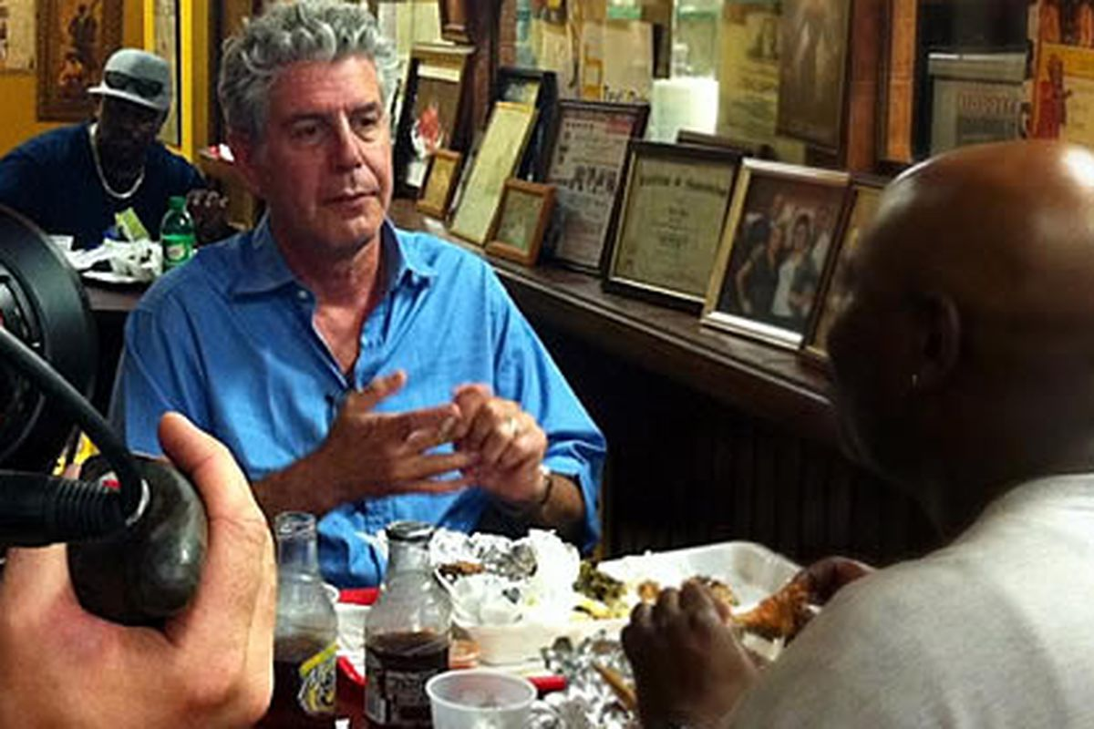 Bourdain at Ken's Cafe in Mt. Airy