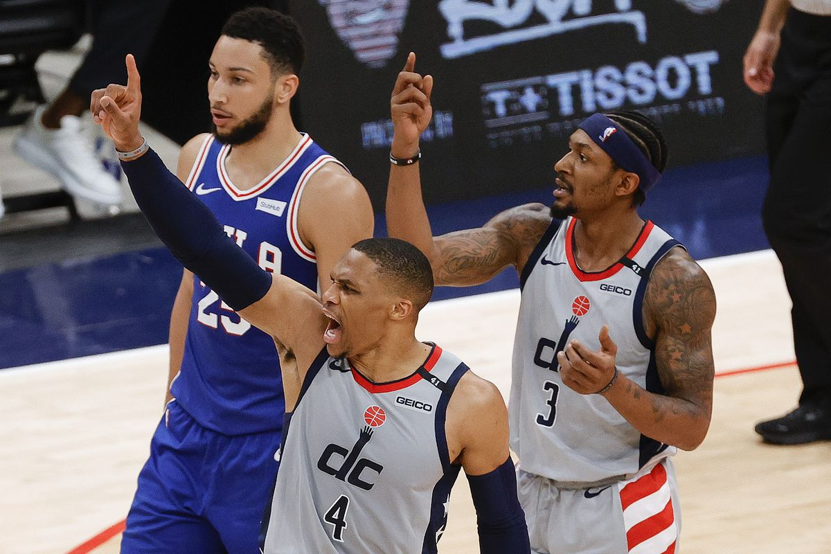 Russell Westbrook and Bradley Beal of the Washington Wizards react to a call during the second quarter against the Philadelphia 76ers during Game Four of the Eastern Conference first round series at Capital One Arena on May 31, 2021 in Washington, DC.