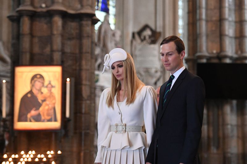 Ivanka Trump and Jared Kushner look on during a visit to Westminster Abbey on June 03, 2019, in London, England.