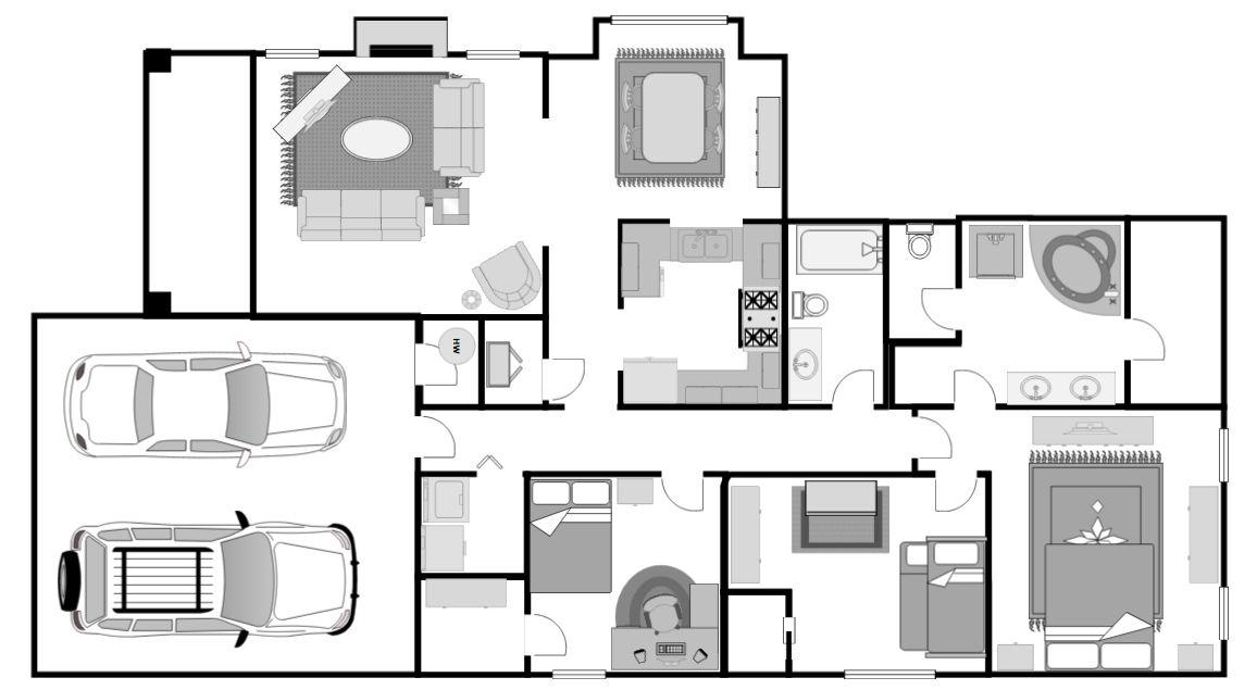 Floorplan of a three-bedroom house.