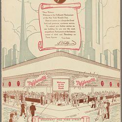 "World's Fair menu page advertising the Times Square restaurant, via <a href=""http://menus.nypl.org/menus/30338"">NYPL Digital archives</a>."