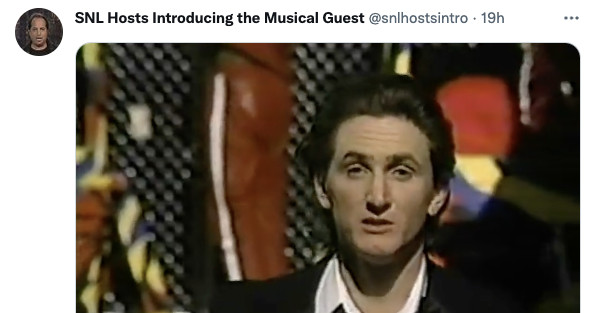 My new favorite Twitter account posts classic clip of SNL host introducing musical guest