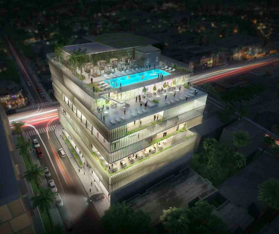 Rendering of Sunset Strip Arts Club in Los Angeles. There is a swimming pool on the roof.