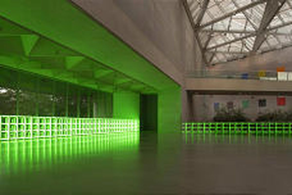 At the National Gallery of Art in Washington, D.C., samples of Dan Flavin's art created with ordinary fluorescent light tubes are on display.