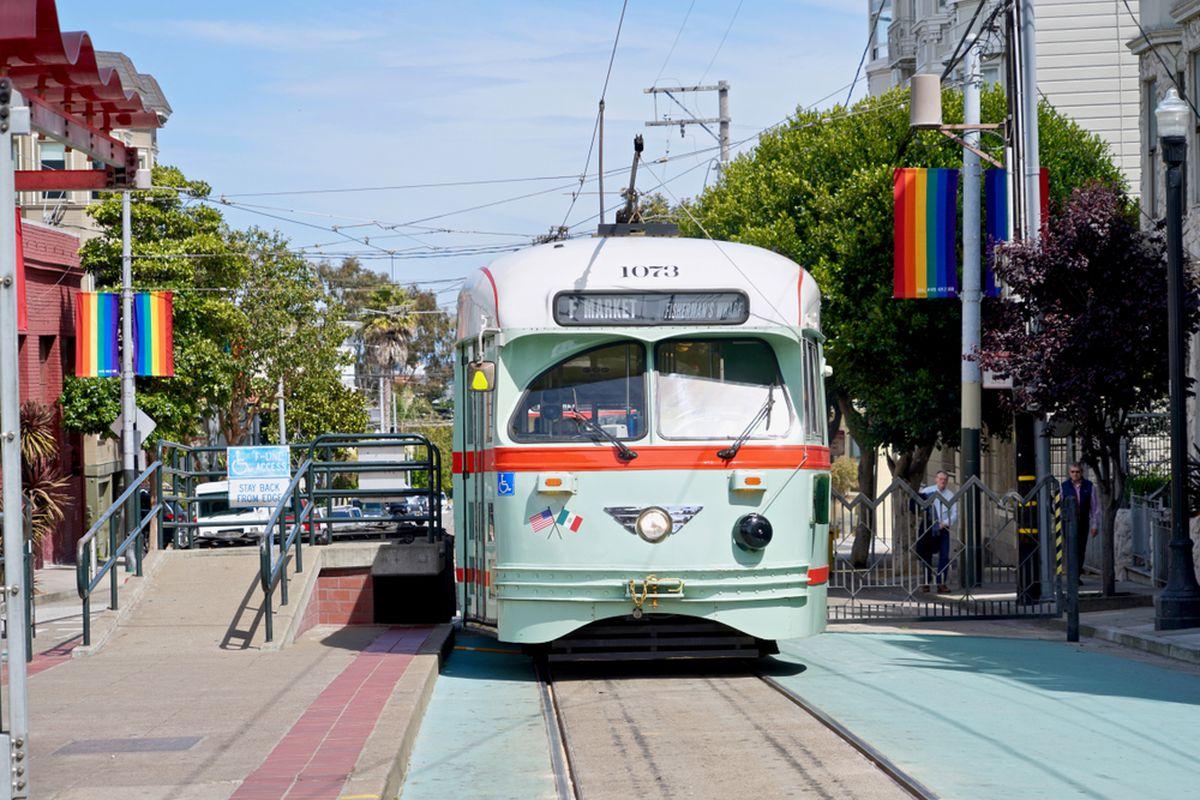 A Muni historic streetcar on Market Street.