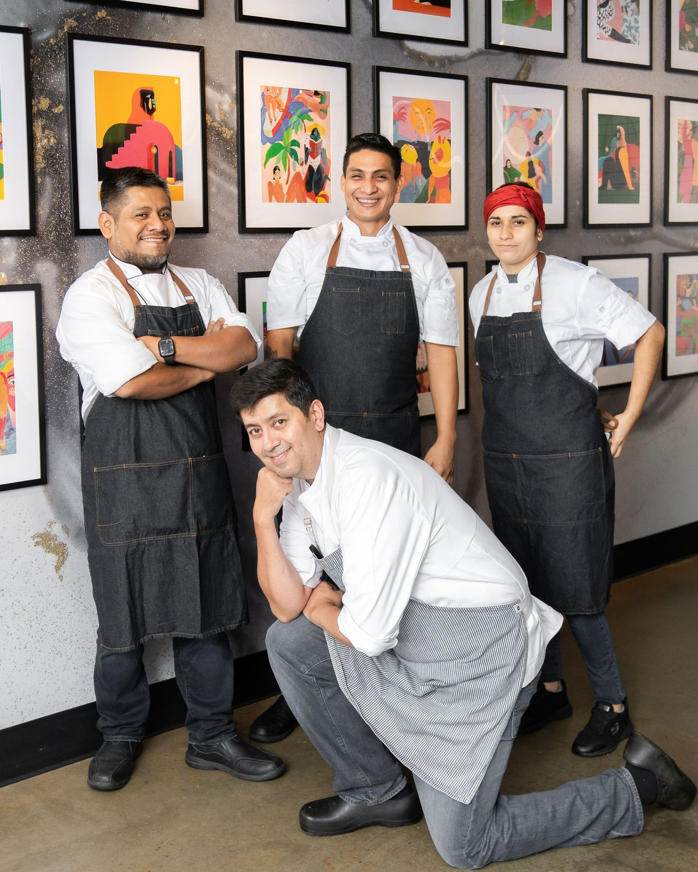 Clockwise from top left, Paraíso chefs Geovany Beltran, Carlos Valenzuela, Blenda Navarette, and Nash Rana.