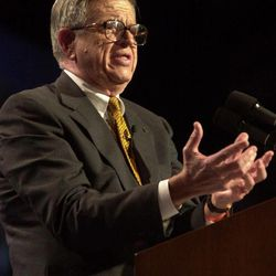In a Aug.  2, 2000 file photo, Charles Colson bears testimony at a conference for evangelical Protestants at Amsterdam's RAI congress center.  Colson, the tough-as-nails special counsel to President Richard Nixon who went to prison for his role in a Watergate-related case and became a Christian evangelical helping inmates, has died.
