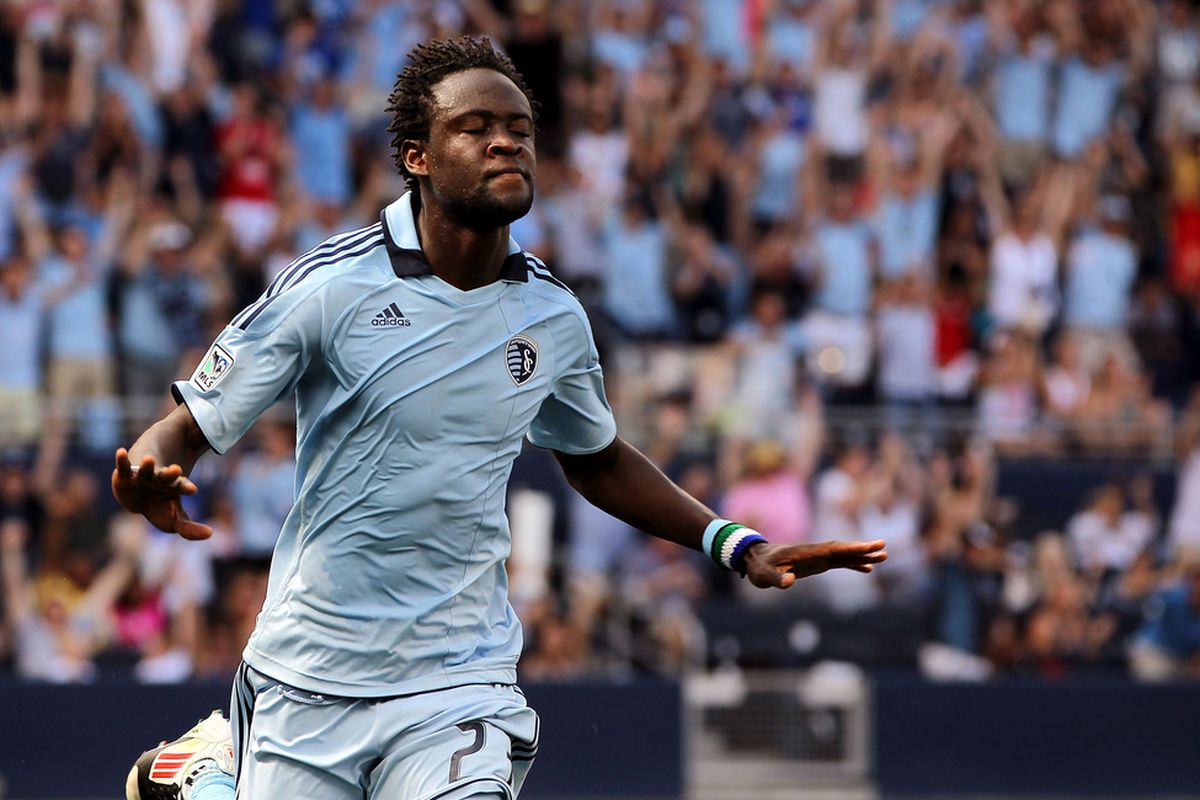 KANSAS CITY, KS - MAY 27:  Kei Kamara #23 of Sporting KC celebrates after scoring during the game against the San Jose Earthquakes on May 27, 2012 at Livestrong Sporting Park in Kansas City, Kansas.  (Photo by Jamie Squire/Getty Images)