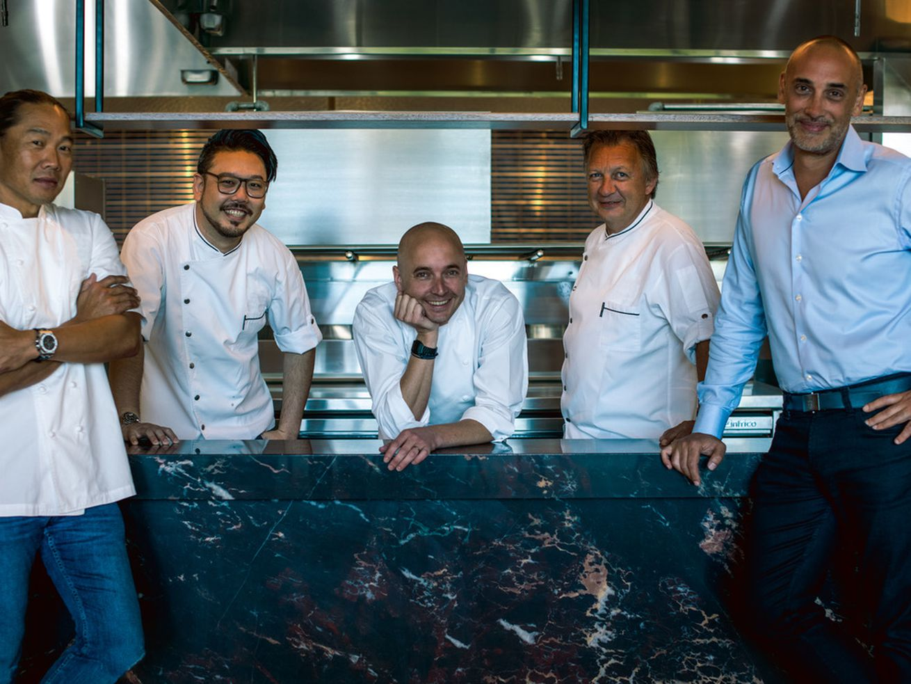 <em>Sunny Oh, Executive Chef-Partner; Kaoru Chang, Corporate Chef; Pierre Morat, Executive Chef; Gregory Gourreau, Corporate Chef Partner; and Tim Sandoz, Director of Operations</em>