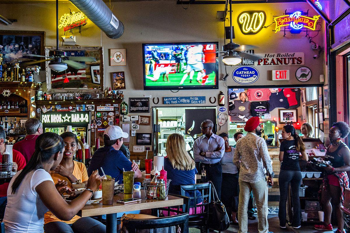 Inside the dining room at Fox Bros. Bar-B-Q.