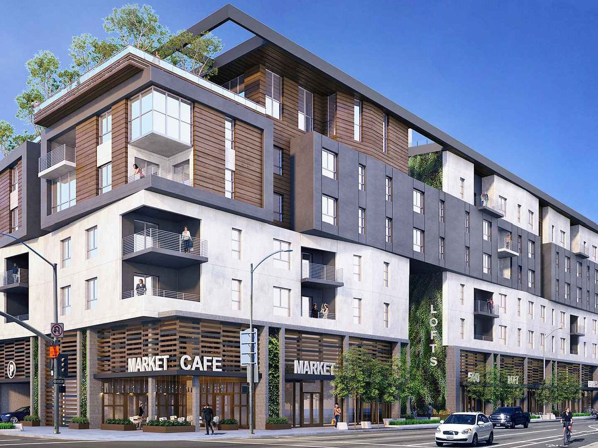 A rendering of the four-story Long Beach apartment project.