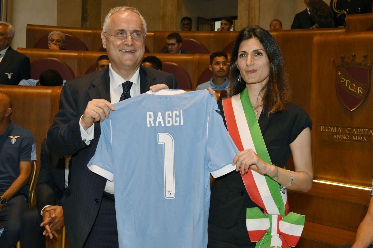 Rome Mayor Viginia Raggi Awards SS Lazio For The Tim Cup Win