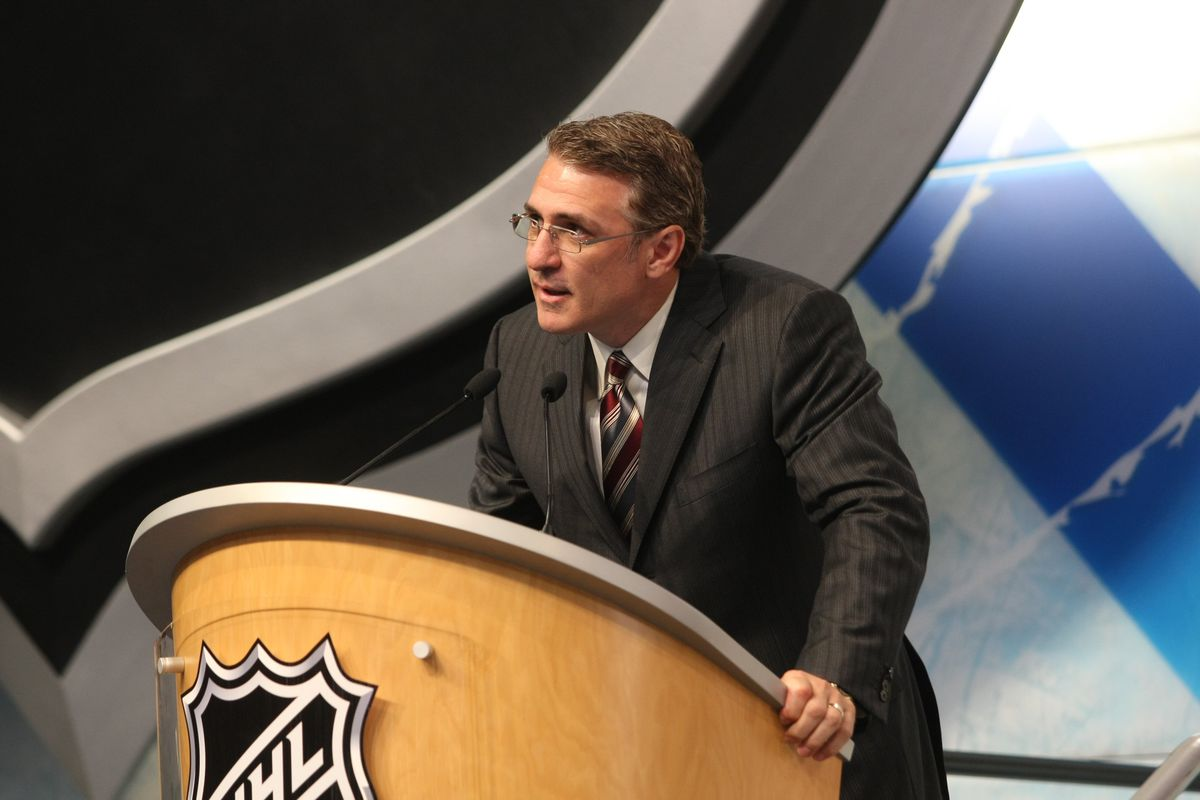 MONTREAL - JUNE 26: Associate Head Coach/Director of Player Development Ron Francis of the Carolina Hurricanes speaks from the podium during the first round of the 2009 NHL Entry Draft at the Bell Centre on June 26, 2009 in Montreal, Quebec, Canada.