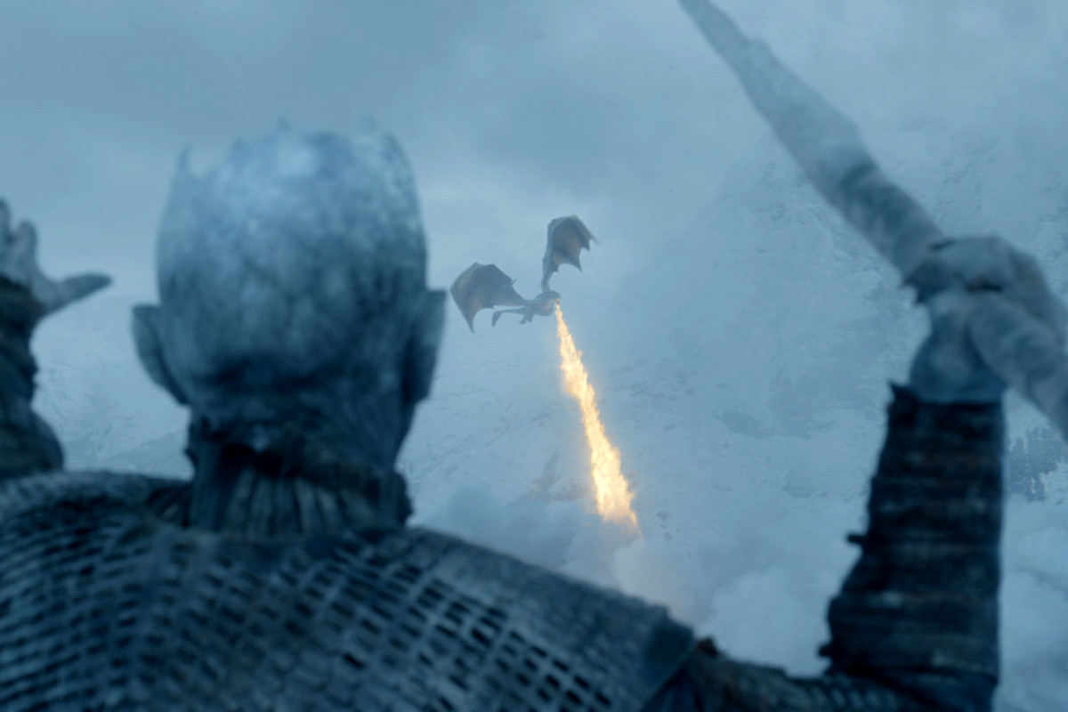 The Night King throwing a spear at a dragon