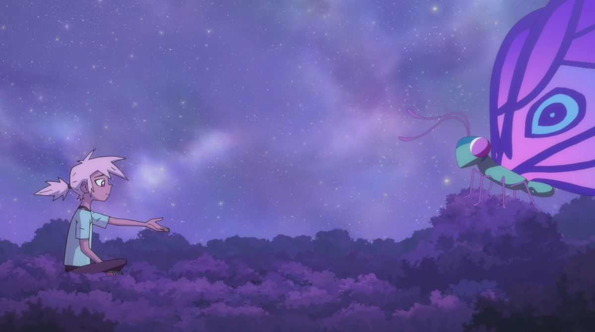 kipo sits atop a canopy of trees, a brilliant night sky behind her, and a big butterfly