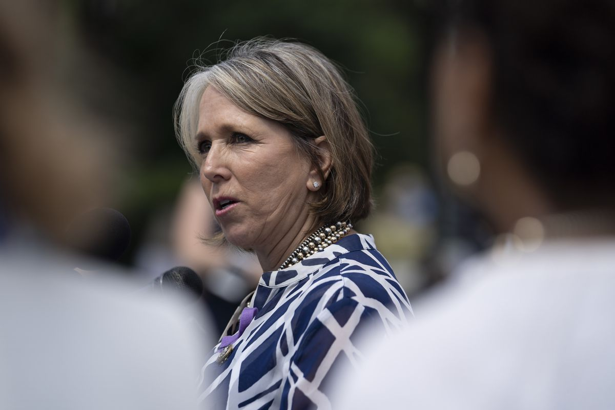 """Rep. Michelle Lujan Grisham (D-NM) speaks during a news conference on immigration to condemn the Trump Administration's """"zero tolerance"""" immigration policy, outside the US Capitol on June 13, 2018 in Washington, DC."""