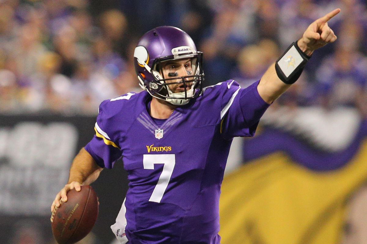 Vikings QB Christian Ponder points to where he's going to throw.  Unfortunately, it was row 17, seat 22