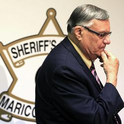FILE -- In this April 3, 2012, file photo, Maricopa County Sheriff Joe Arpaio pauses during a press conference in Phoenix.  The tough-talking sheriff, still facing a federal lawsuit alleging his department violates Hispanics' civil rights, is the last man standing of the three Phoenix politicians who made Arizona a leader in the crackdown against illegal immigration.