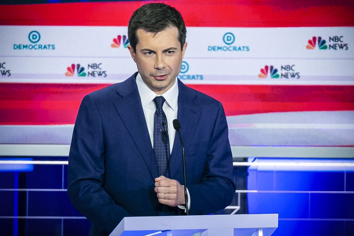 Democratic presidential candidate Mayor of South Bend Pete Buttigieg speaks during the second night of the first Democratic presidential debates.