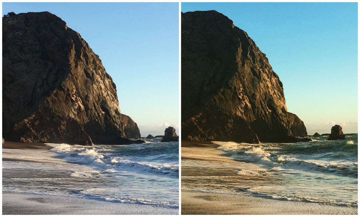 The original photo (left) compared to the new Perpetua filter