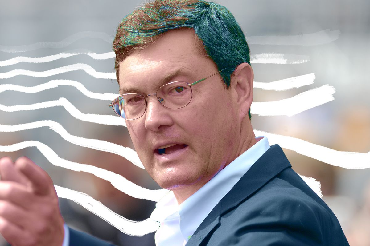 Pittsburgh Pirates owner Bob Nutting points at something before a game PNC Park.