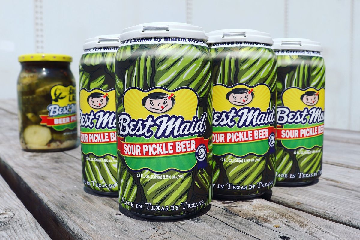 Cans of Martin House Brewing's pickle beer