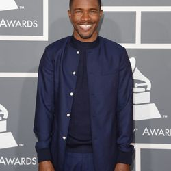 Winner Frank Ocean in a collarless Dior Homme style.