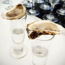 """Oyster and Vodka Shooters at the Manhattan Cocktail Classic by <a href=""""https://www.flickr.com/photos/foodforfel/14155512824/in/pool-eater/"""">foodforfel"""