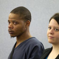Gary Lee Hosey Jr., the suspected driver of the car that crashed into the bus stop in Las Vegas on Sept. 13, makes an initial appearance at the Clark County Regional Justice Center in Las Vegas Monday, Sept. 17, 2012. Attorney Caitlyn McAmis is at right. Four people died and eight were injured in the accident.