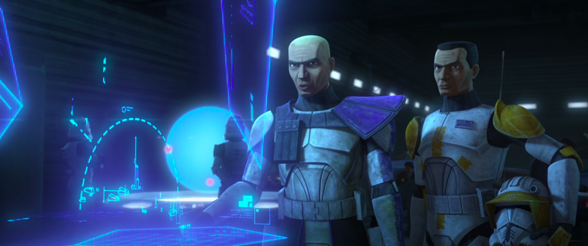 rex and a clone look at a hologram battle plan in clone wars season 7