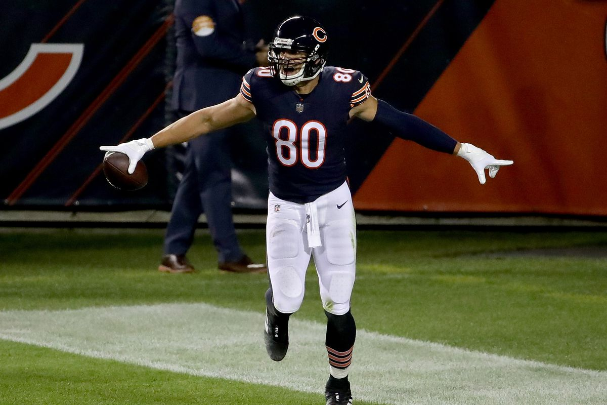 Jimmy Graham of the Chicago Bears celebrates after scoring a touchdown in the second quarter against the Tampa Bay Buccaneers at Soldier Field on October 08, 2020 in Chicago, Illinois.