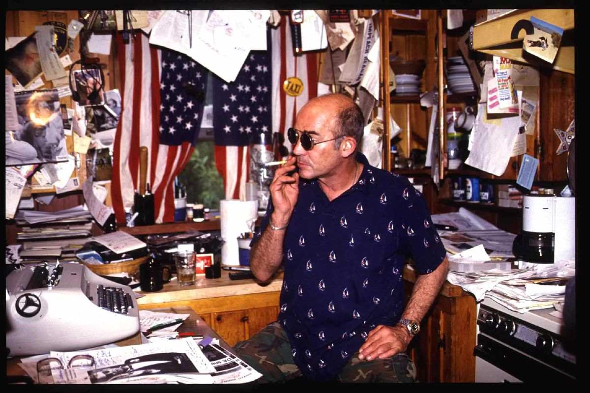 Hunter Thompson The Gonzo Journalist Sits At His Desk