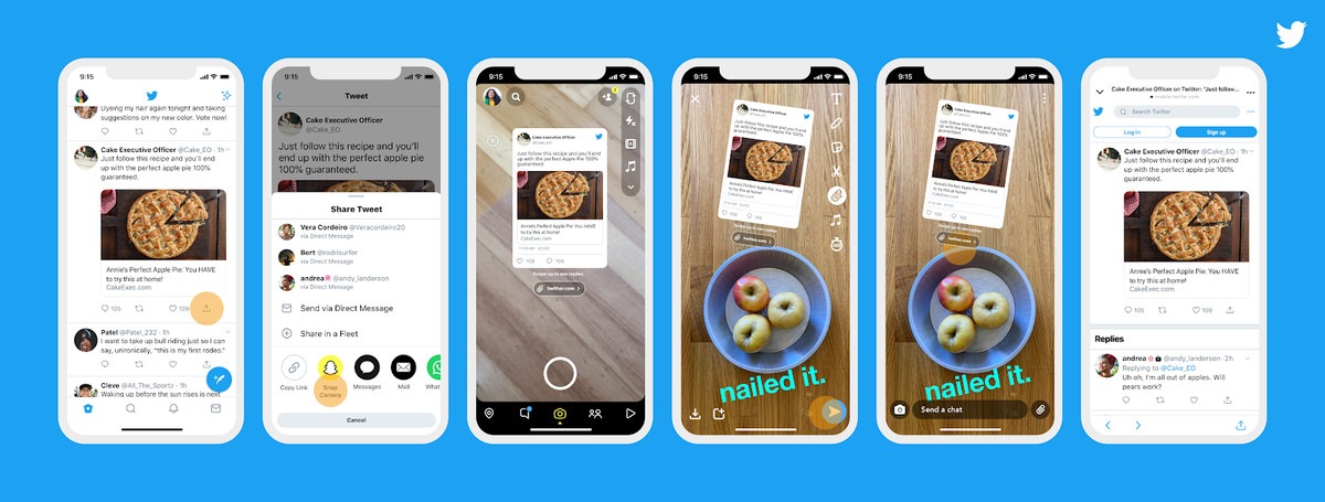 Shows the process of sharing a tweet to Snapchat