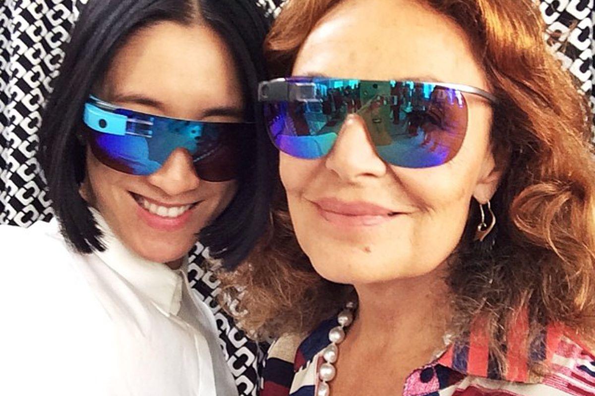 "Lucky EIC Eva Chen and the designer try on the new DVF Google Glass frames; photo via <a href=""http://instagram.com/p/oyudUivPY8/#"">Instagram</a>"